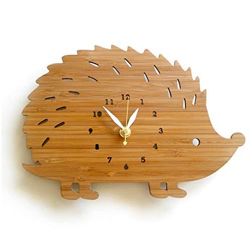 guyuell Animal Reloj De Pared Diseño Moderno Dormitorio Decorativo Niños Erizo Reloj De Madera Relojes De Pared Decoración para El Hogar Silencioso 3D Pegatinas