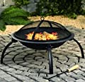 Large Fire Pit Steel Folding Outdoor Garden Patio Heater Grill Camping Bowl BBQ With Poker, Grate, Grill