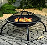 Kyпить Large Fire Pit Steel Folding Outdoor Garden Patio Heater Grill Camping Bowl BBQ With Poker, Grate, Grill на Amazon.co.uk