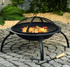 Large Fire Pit Steel Folding Outdoor Garden Patio Heater Grill Camping Bowl BBQ With Poker, Grate,