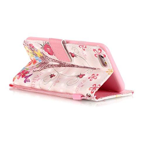 Yaking® Apple iPhone 6/6S Coque, PU Portefeuille Étui Coque Stand Flip Housse Couvrir impression Case Cover pour Apple iPhone 6/6S P-5