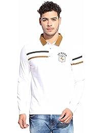 Le Bison Men's Full Sleeve White Cotton Polo Neck T-Shirt