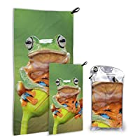 LONGYUU Beautiful Tropical Rainforest Tree Frog 2 Pack Microfiber Girls Beach Towel Shower Towel Set Fast Drying Best For Gym Travel Backpacking Yoga Fitnes