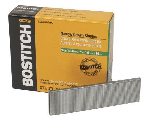 BOSTITCH SX50351-3/8G 1-3/8-Inch by 18 Gauge by 7/32-Inch Crown Finish Staple (3,000 per Box) by BOSTITCH -
