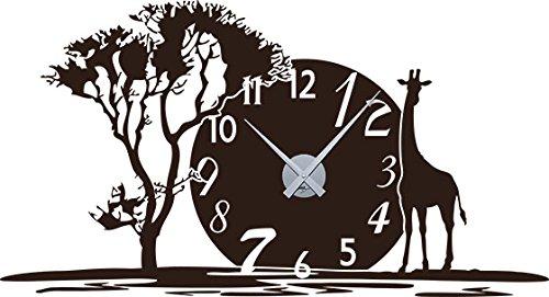 GRAZDesign Wandtattoo mit Uhrwerk Afrika - Uhren Wand Tattoo Afrikanisch mit Savane Jungle - Wanduhr Giraffe Baum / 105x57cm / 800350_SI_080