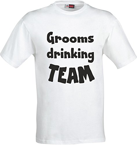 GROOMS DRINKING TEAM FUNNY GIFT STAG PARTY COTTON T SHIRT