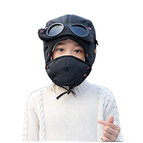 sofulaile Kindermütze, Winddicht, Winddicht, für Kinder, Winter, für Kinder, Dickes Fleece, gefüttert, mit dickem Ohrenschützer, für Neugeborene, Masken Schwarz -
