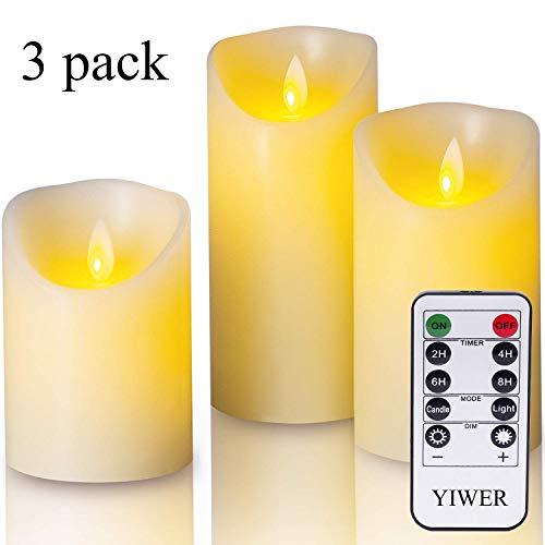 LED Kerzen,Flammenlose Kerzen 4/5/6inch Set aus 3 Echtwachs mit realistischen tanzenden LED Flammen und 10-Tasten Fernbedienung mit 2/4/6/8-Stunden Timer,300+ StundenYIWER (Elfenbein, 3×1) (Die Batterie Der Fernbedienung Kerzen)
