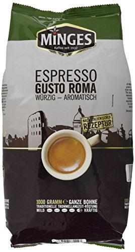 Minges Espresso Gusto Roma, ganze Bohne, Aroma-Softpack, 1er Pack (1 x 1 kg)