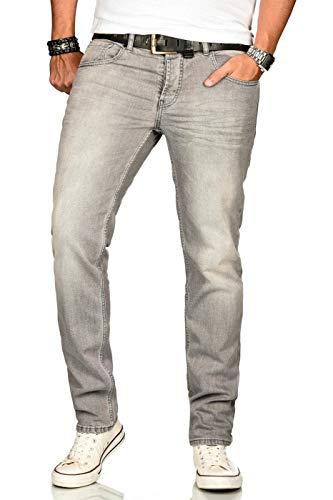 A. Salvarini Designer Herren Jeans Hose Basic Stretch Jeanshose Regular Slim [AS-174M1-Hellgrau-W38 L32]