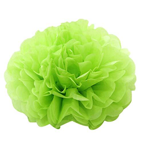 BZLine Seidenpapier Pompons Blumen Ball Dekorpapier Kit für Geburtstag, Hochzeit, Baby Dusche, Parteien, Hauptdekorationen, Partei Dekoration - 10 Stück (Grün)