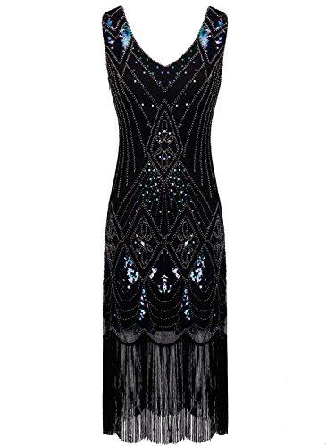 Gatsby Pailletten Verziert Quasten Saum Flapper Kleid D20S014 (S, Schwarz Blau) (Flapper Frauen)