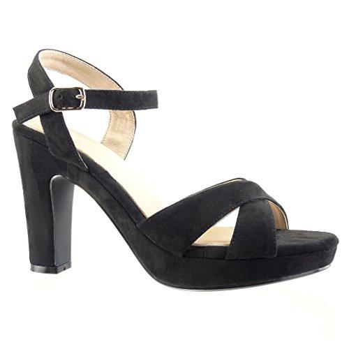 Angkorly Damen Schuhe Sandalen Pumpe - Plateauschuhe - Sexy - String Tanga - Schleife Blockabsatz High Heel 10.5 cm Schwarz