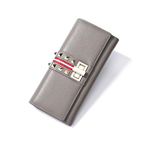 delle donne genuine pelle rivetti Portafoglio donna decorate solido di colore borsa lunga Blocco Fibbia Pochette , ivory grey