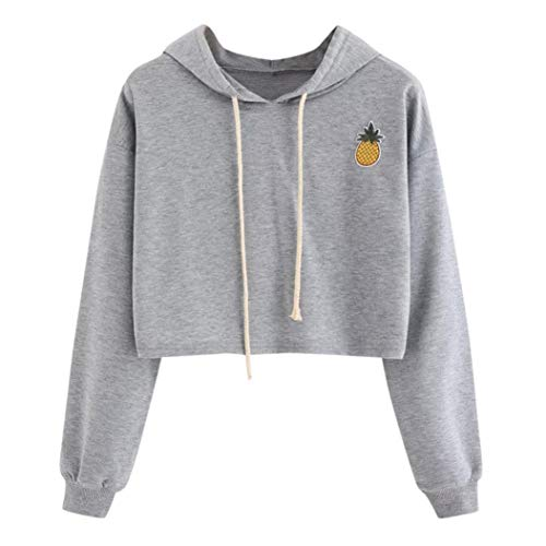 DAYSEVENTH WOMEN-TOPS Clearance Ladies Hoodie Appliques Pinapple Sweatshirt Long Sleeve Pullover Tops Blouse