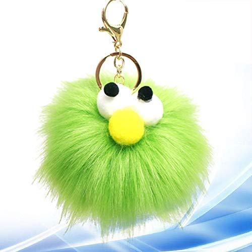 Vosarea Pom Pom Keychain Plüsch Ball Keyring Big Eye Form Keychain Gepäck Pom Pom (grün)