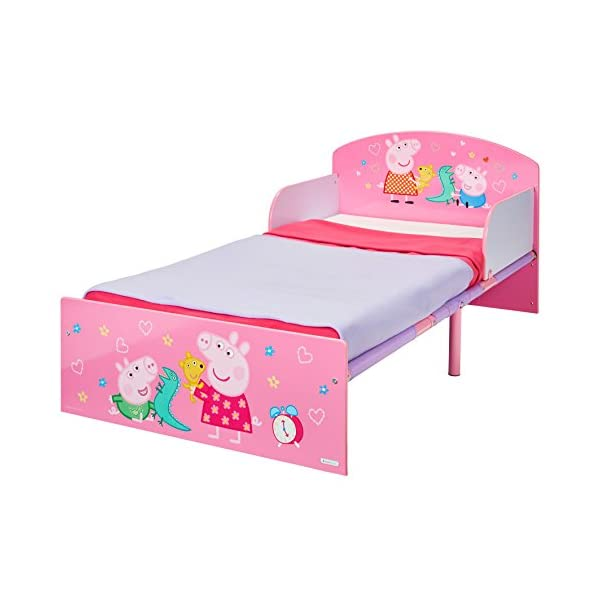Peppa Pig Kids Toddler Bed by HelloHome Peppa Pig. Snuggle in after a day of play in this Peppa Pig Toddler Bed Perfect size for toddlers, low to the ground with protective and sturdy side guards to keep your little one safe and snug Fits a standard cot bed mattress size 140cm x 70cm, mattress not included. Part of the Peppa Pig bedroom furniture range from HelloHome 16