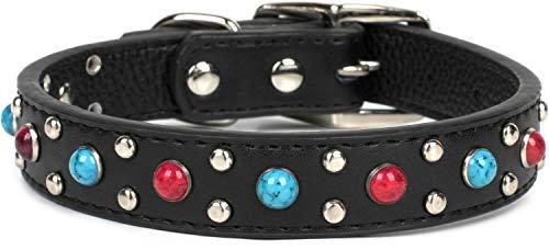 Puccybell Hundehalsband mit Nieten und Schmuckstein Perlen, Verziertes Halsband für kleine, mittelgroße und große Hunde HB001 (L, Schwarz)