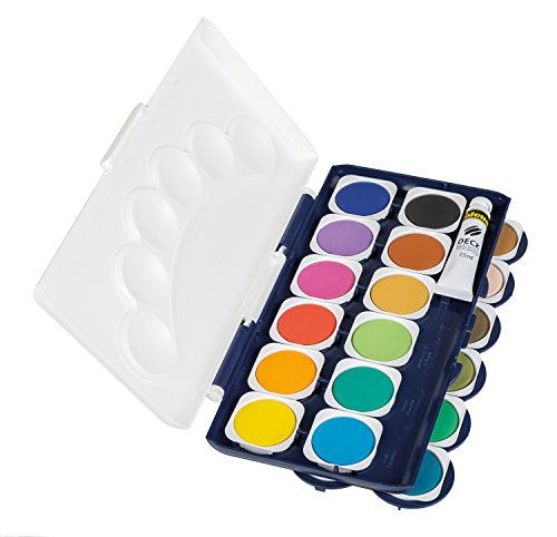 Idena 22064 - Deckfarbkasten mit 24 Farben und 1 Tube Deckweiß - 4