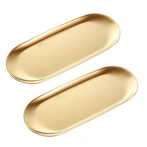 ANZOME 2 Stück Goldene Platte Serviertabletts Buffet Platte Schmuckständer Aufbewahrung Dekoration - Oval Groß Gold Buffet Platte