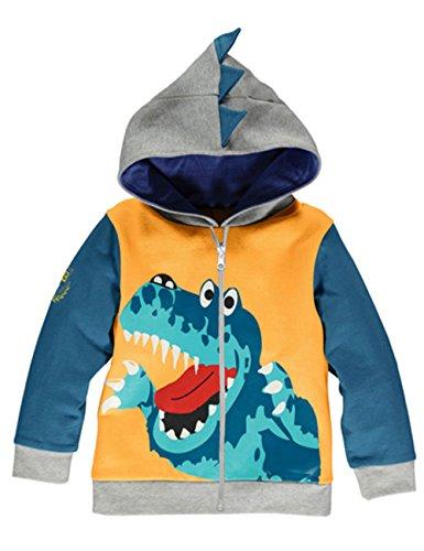 COCM10 Kinder Baby Jungen Kleinkind Dinosaurier Jacke Kapuzenpullover Sweatshirt Voller Reißverschluss 1-6 Jahre (Pullover False Zwei)