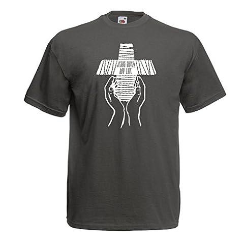 T-shirt pour hommes Jésus a sauvé ma vie - foi religieuse vêtements chrétiens (Medium Graphite Multicolore)