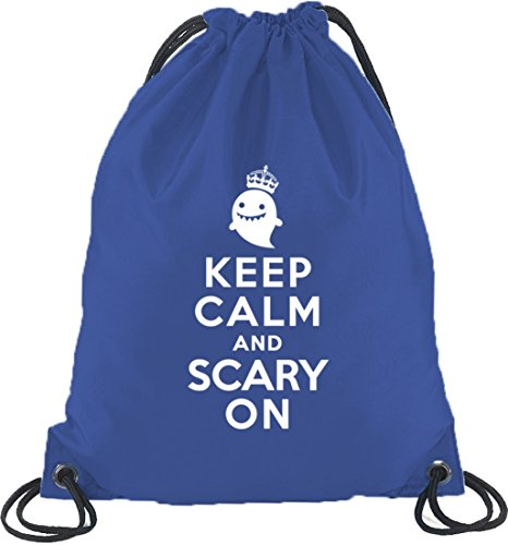Shirtstreet24, Halloween - Keep Calm And Scary On, Turnbeutel Rucksack Sport Beutel Royal Blau