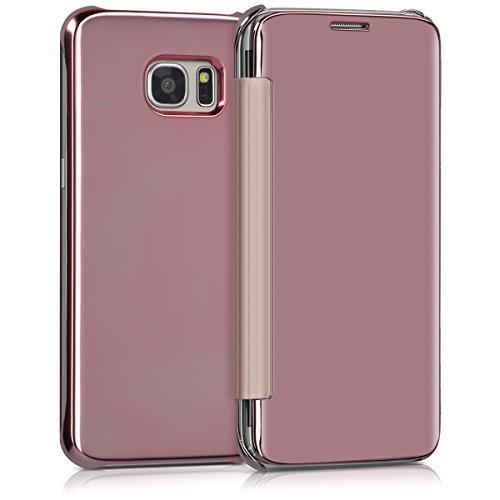 Kwmobile cover per samsung galaxy s7 edge - custodia flip protettiva a specchio effetto alluminio - case a libro per cellulare oro rosa riflettente