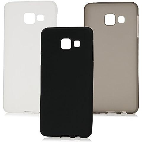 Custodia Galaxy A3 2016,(3 Cover Silicone Morbido Case) - MAXFE.CO Custodia Silicone Ultra Sottile in TPU Semplice,Shock-Absorption Bumper per Samsung Galaxy A3 2016(No per 2015 Edition) - Nero,grigio,trasparente