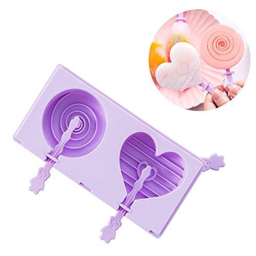 beicemania Stapelbar Eisformen Bpa Frei Oval Klassik Eisform Rund Herz Spirale Lila Eisformen Silikon Mit Popsicle Sticks
