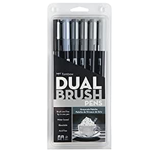Tombow Dual Brush Pen Set, 6-Pack, Grayscale Colors (56166)