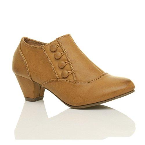 Femmes talons mi bouton fermeture éclair cheville chaussure bottes bottines pointure Brun clair