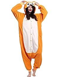 Kigurumi Pijama Animal Entero Unisex para Adultos con Capucha Cosplay Pyjamas Mono Amarillo Ropa de Dormir