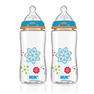 NUK Advanced Orthodontic Bottles with Silicone Nipple Blue 10 Ounce 2-Count