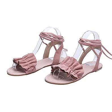 Strawberry Women Sandals 2019 Ruffles Flat Sandals Lace Up Ladies Gladiator Sandals Summer Shoes Sandalia,Pink,43