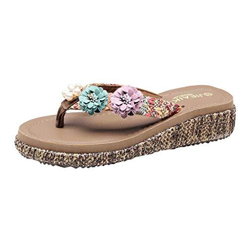 MEIbax Damen Strand Flip Flops Weibliche Hausschuhe Sommer Mode Sandalen Blumen Schuhe Böhmen Pantoletten Slipper,3cm,35-40