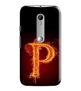 Hi-Me Designer Phone Back Case Cover Motorola Moto G3 :: Motorola Moto G (3rd Gen) :: Motorola Moto G3 Dual SIM ( Fiery Alphabet P Light Fire Blaze )