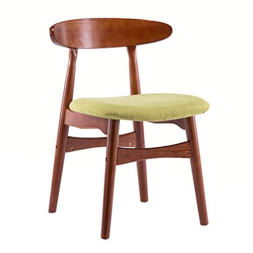 La Mode Chaise À Dossier Bas Rétro Brun Rouge Cadre en Bois Massif Chaise De Salle À Manger avec Table De Loisirs Chaise Éponge en Lin Vert
