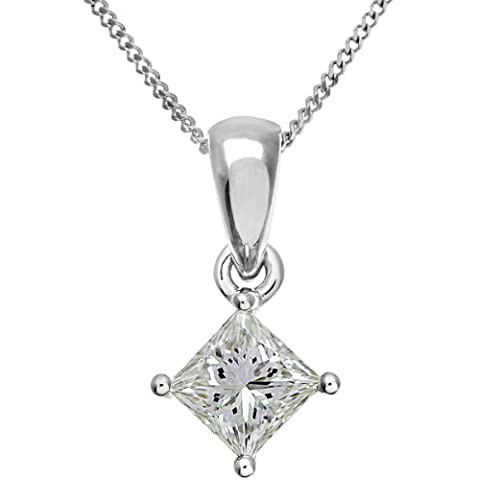 Naava Women's 18 ct White Gold Solitaire Pendant + Chain, J/SI Certified Diamond, Princess Cut, 0.75ct