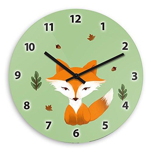 Wanduhr mit schönem Motiv – Pastell-Fuchs - für Kinder | Kinderzimmer-Uhr | Kinder-Uhr