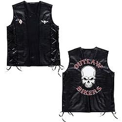 Chaleco motero de piel sintética, diseño de calavera, ideal para motocicleta o bicicleta como accesorio para disfraz