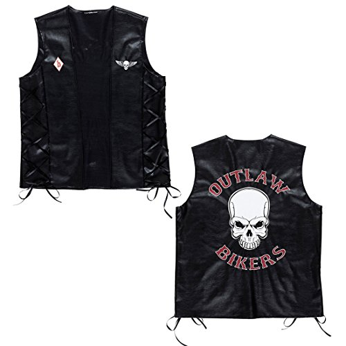 Imagen de chaleco motero de piel sintética, diseño de calavera, ideal para motocicleta o bicicleta como accesorio para disfraz
