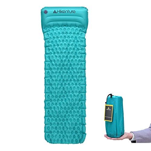 Camping Isomatte Kleines Packmaß von Hikenture™ - Ultraleichte Aufblasbare Isomatte mit Kissen - Sleeping Pad Luftmatratze für Camping, Reise, Outdoor, Wandern, Strand (Blau)