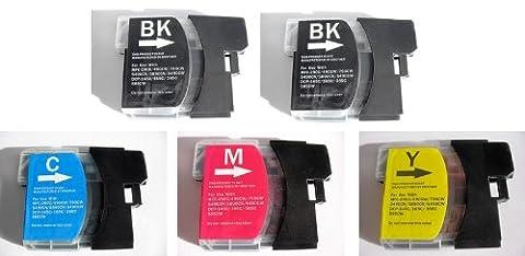 5x Kompatible Drucker Tintenpatronen für Brother DCP-195C - 1x Cyan / 1x Gelb / 1x Magenta / 2x Schwarz