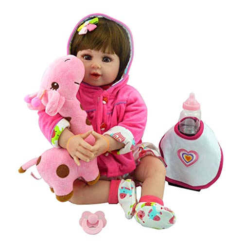 lixiaoxuty Puppe 22 Zoll Silikon Lebensechte Babypuppe Lätzchen Cartoon Onesies Mit Kapuze Mantel Haarspange Hirsch Frühen Kindheit Kinder Reborn Doll Spielzeug (Puppe Nägel Barbie)