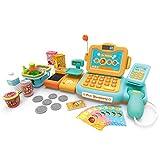 Winni43Julian Supermarktkasse Spielzeug Set , 24 Stück Registrierkasse Rollenspiel Spielzeug, Spiel Kassen für Kinder mit Scanner Mikrofon Förderband Waagen Taschenrechner (Blau + Gelb)