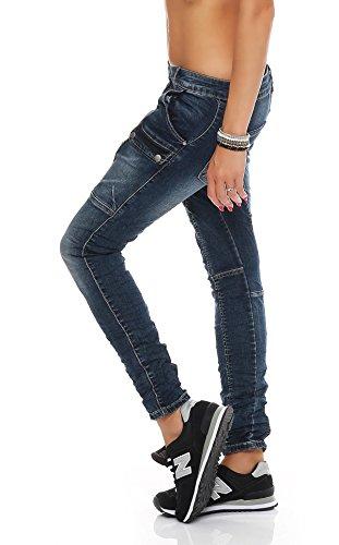 SKUTARI - Damen Denim Jeans - Boyfriend, Loose Fit, Stretch Blau