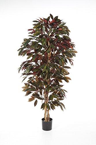 artplants – Künstlicher Kroton Baum CARA, 816 grün-rote Blätter, 150 cm – Unechter Pflanzen Strauch/Deko Baum