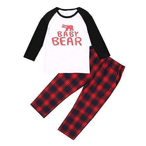 Baby Jungen Bekleidungssets Babymode Mädchenbekleidung 2 Jahre alte bis 7 Jahre alte Kinderkleidung Plaid Tops Hosen Familien Pyjamas Nachtwäsche Passende Weihnachtssets Felicove (Plaid Pyjamas Familie)