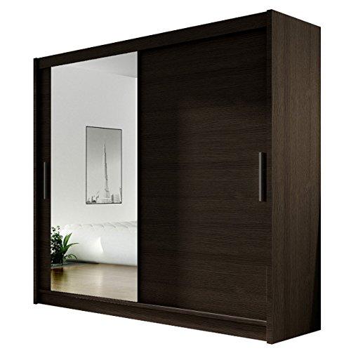 Kleiderschrank mit Spiegel London VI, Schwebetürenschrank, Schiebetürenschrank, Modernes Schlafzimmerschrank 180x215x57cm, Garderobe, Schlafzimmer (Choco)